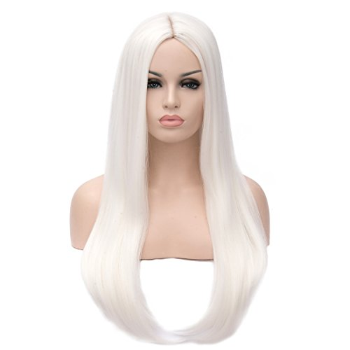 White Hair Wig (MOCOO 24 inch Straight Long Beautiful White Hair Wigs Heat Resistant Synthectic Wig for Women with Natural Looking JF051)