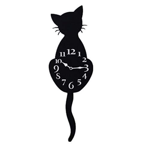 Clock Metal Wall Cat (Dingji Creative Cartoon Cat Wall Clock Home Decor Watch Way Tail Move Silence (C))