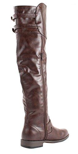 Bambus Kvinners Montana-08 Faux Skinnstøvler Med Dekorative Glidelås Og Spenner Brun