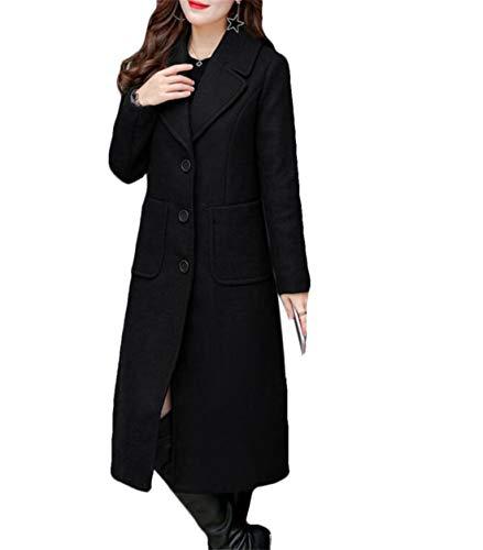 BYWX Women Slim Fit Winter Full-Length Overcoat Lapel Single-Breasted Pea Coat Black US - Length Overcoat Full Womens