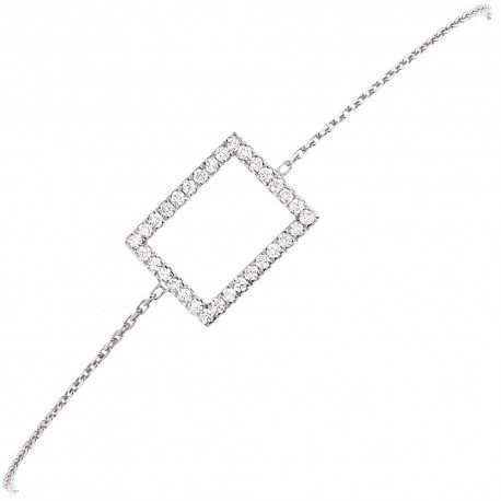 BRACELET MOTIF RECTANGLE GM OR BLANC ET DIAMANTS