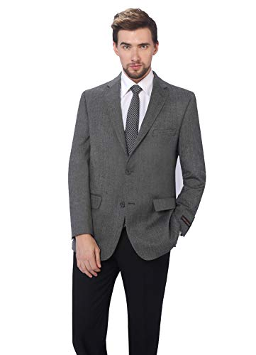 (P&L Men's Premium Wool Blend Business Blazer Dress Suit Jacket Light Charcoal)