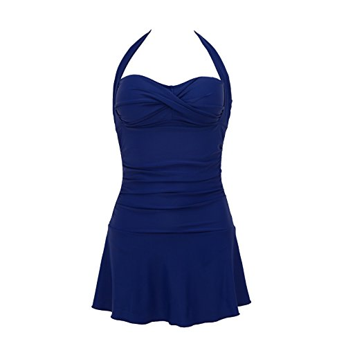 Swimsuit One Top Piece Halter (Domy Women's Plus Size Swimwear Retro Halter Top Vintage One Piece Swimsuit with Skirt (XL, Blue))