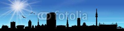 "Alu-Dibond-Bild 160 x 40 cm  ""Skyline Dortmund Sonne Himmel"", Bild auf Alu-Dibond"