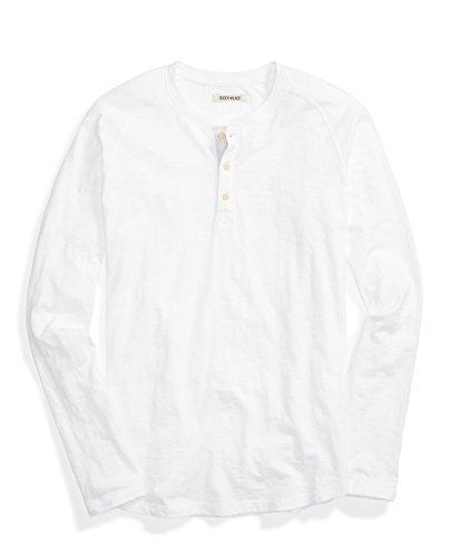 Goodthreads Men's Long-Sleeve Slub Henley Tee, Bright White, (Long Sleeve Henley Tee)