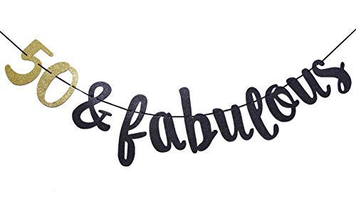50 & Fabulous Cursive Banner- Happy 50th Birthday Anniversary Party Supplies, Ideas and Decorations(Gold & Black)
