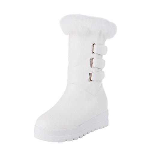 Mee Shoes Damen bequem runder toe halbschaft mit Flaum invisibel Heel Klettband Schneestiefel Weiß