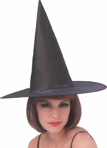 Adult Satin Witch Black Hat Costume Accessory Halloween Dressup -