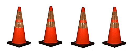 Cortina 03-500-10 Vinyl Traffic Cone with Black Base and 6'' Upper/4'' Lower Reflective Collar, 28'' Height, Red/Orange (Pack of 4) by Cortina