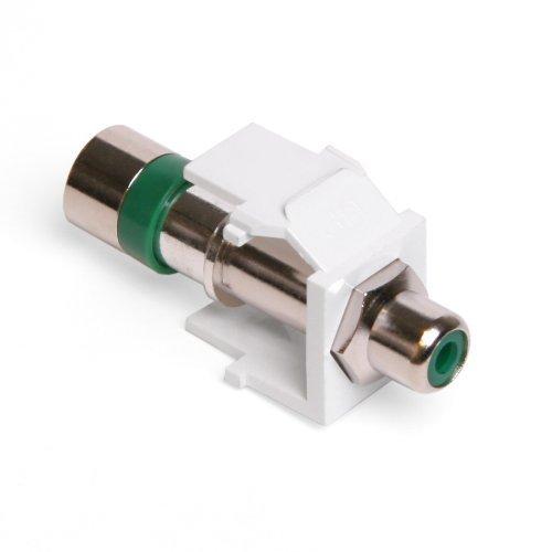 Leviton 40782-RVW QuickPort Compression RCA Connector, Green Insert, (Rca Connector White Rg6 Quad)