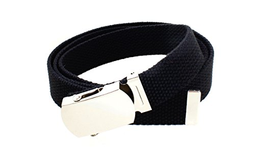 Kids Canvas Web Belt Chrome Silver Buckle/Tip Solid Color - Black
