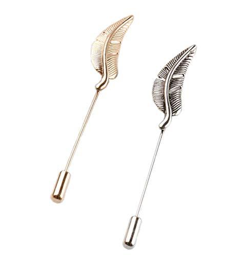 AngelShop Men Metal Brooch Pin Vintage Lapel Stick Pin Suit Tie Hat Scarf Brooch Badge Set of 2PCS (2PCS Leaf-01)