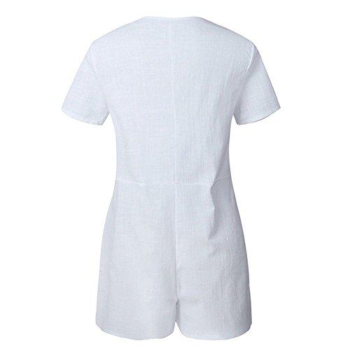 Donna Tuta Pantaloni Runyue Bianco Mini Spiaggia Tinta Corta Unita Pagliaccetti Da Casual qCEwxBwXd