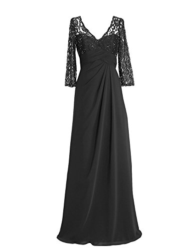 ALAGIRLS Womens Long Prom Dresses Chiffon Lace Evening Party Gowns With Half Sleeves Black US26Plus
