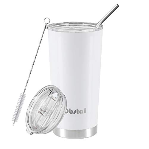 White Travel Tumbler - Obstal Stainless Steel Insulated Tumbler - Double Wall Vacuum Travel Mug for Coffee with Straw, Slider Lid, Cleaning Brush, Perfect for Gift (20 oz, White)