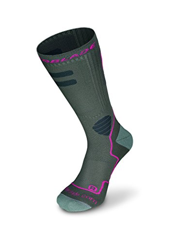Rollerblade High Performance Women's Socks, Inline Skating, Multi Sport, Dark Grey and Pink