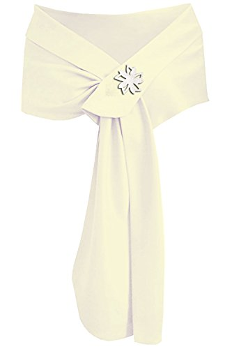 - Meet Edge Women's Satin Shawl Wrap for Evening/Wedding Party (Ivory Band Brooch)
