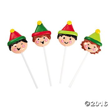 Christmas Elf Elves Character Lollipops Suckers - 12 ct