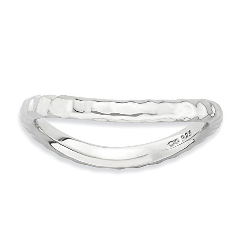 (925 Sterling Silver Plate Wave Band Ring Size 5.00 Stackable Curved Fine Jewelry Gifts For Women For Her)