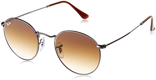 Ray-Ban RB3447N Round Flat Lenses Metal Sunglasses, Gunmetal/Brown Gradient, 50 mm