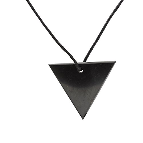 Powerful Stone - Shungite Pendant Reverse Triangle Necklace: Guaranteed Authentic Highest Quality Russian Natural Healing Stone EMF Radiation Protection, Chakra Balancing, Handmade Jewelry, Purification Stones
