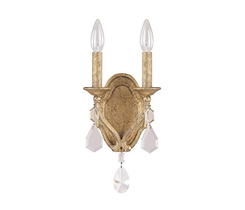 Capital Lighting 1617AG-CR Blakely 2-Light Wall Sconce, Antique Gold Finish with Clear Crystal - Sconce Antique Gold Wall