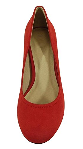 Cambridge Select Womens Fermé Bout Rond Slip-on Bloc Trapu Talon Moyen Pompe Rouge Imsu