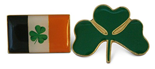2-Piece Irish Flag Shamrock & Three Leaf Clover Lapel or Hat Pin & Tie Tack Set with Clutch Back by Novel Merk -