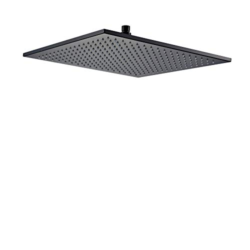 Rozin Rainfall 16-inch Bathroom Shower Head Square Top Spray Black Color