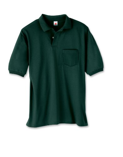 Men's 5.2 oz Hanes STEDMAN Blended Jersey Pocket Polo Ash S