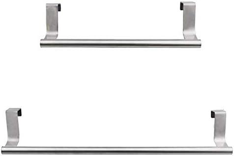 Kaxofang 2Piece Steel Towel Rack Hangable Bath Towel Bar Perforated Free Rack Single Bar Cabinet Bathroom Rack