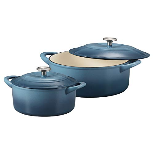 Tramontina 80131/675DS Enameled Cast Iron Covered Round Dutch Oven Combo, 2-Piece (7-Quart & 4-Quart), Ocean Blue