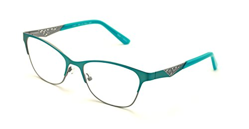 Women Fashion Stainless Steel Non-prescription Glasses Frame Clear Lens Metal Eyeglasses - Wide Fitment - Turquoise Glasses Frames