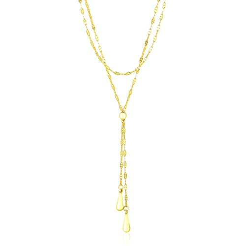 14K Yellow Gold Double Strand Chain with Puffed Tear Drop Lariat Necklace (Gold Yellow Necklace Teardrop)
