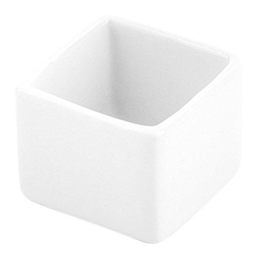 Mini Square Porcelain Dish, Mini Quadrato Dish, Square Ramekin - White - 1 oz - 10ct Box - Restaurantware by Restaurantware (Image #1)