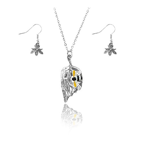Silver Leaf Necklace and Earring Set with Enameled Bee ()