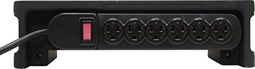 GE 14776 Grounded Six-Outlet Charging Station, Black