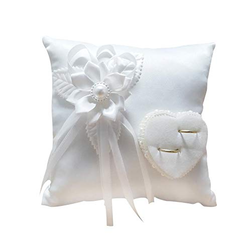 (Wedding Ring Pillow Cream White Graceful Pillow -Romantic Stylish Square Flower Ring Camellia Heart Shaped Cushion Marriage Supplies for Indoor Outdoor Wedding)