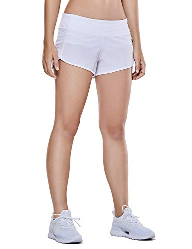 (CRZ YOGA Women's Workout Sports Running Active Shorts with Zip Pocket - 2.5 inch White XXS(00))