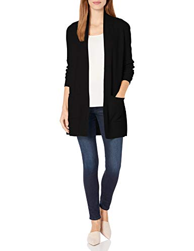 Pendleton Women's Merino/Cashmere Rib Cardigan Sweater, Black, XL