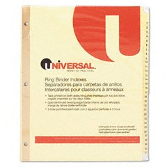 Universal Products - Universal - Plastic-Coated Tab Dividers, 31 Numbered Tabs, Letter, Buff, 31/Set - Sold As 1 Set - Reinforced binding and plastic coated tabs for durability. - Preprinted titles save time. - Three-hole punched for use in standard ring binders. (Tabs 31 Numbered)