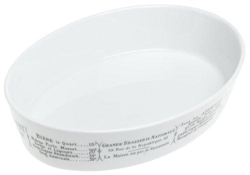 Pillivuyt Brasserie Deep Oval Baker, 9x12.5 inch, White/Menu Print