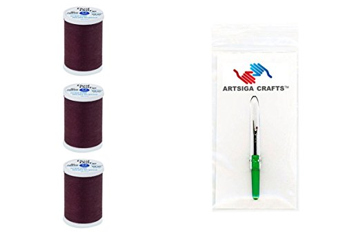 Coats & Clark Sewing Thread Dual Duty XP General Purpose Poly Thread 250 Yards (3-Pack) Maroon Bundle with 1 Artsiga Crafts Seam Ripper S910-2980-3P (Maroon Thread)