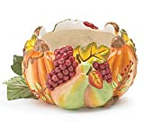 Hand Sculpted Pumpkin And Fruit Bowl For Thanksgiving/Fall Table Decor