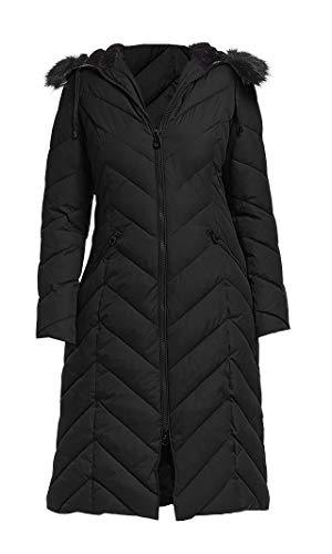 Laundry by Shelli Segal Faux-Fur-Trim Hood Puffer Long Coat Jacket Black (M)]()