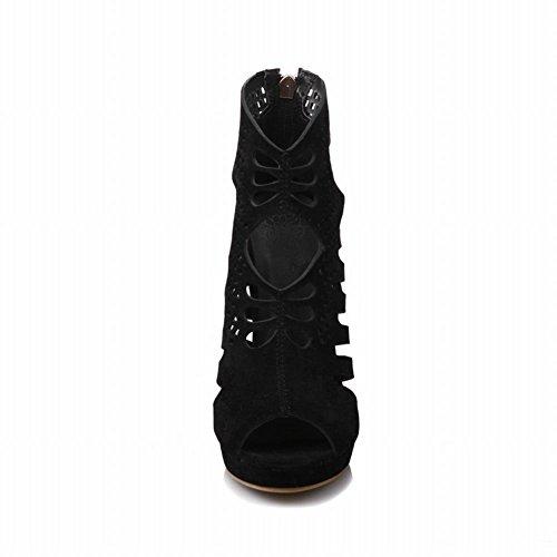 Women's Peep Carolbar Boots Toe Zip Stiletto Chic Summer Black RwFnFqd