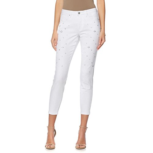GIULIANA G Embellished Jeweled 5-Pocket Skinny Jean Zip White 2X New (Jeweled Womens Jeans)