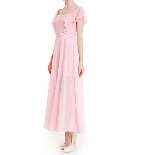 Verano Color Sólido Gasa Vestido Volantes Encajes Costura Gasa Cuello Vestido Pink