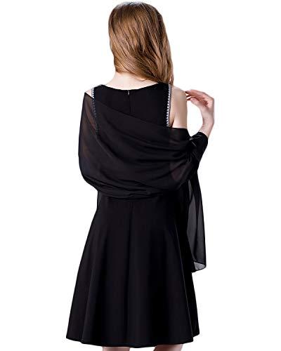 Soft Chiffon Scarve Shawls Wraps for Dresses Women Accessories Black