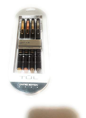TUL Element Limited-Edition Retractable Gel Pens, Medium, 0.7 mm, Assorted Barrel Colors, Black Ink, Pack Of 4 (Pens Fine Refills Tul)